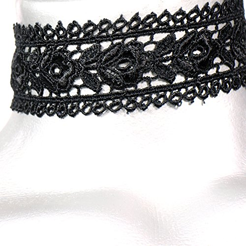 [Twilight's Fancy Wide Rose Black Lace Choker Necklace -- Size Large] (Lobster Costume Pattern)