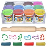 Dough Creativity Play Set by ART CREATIVITY - The Complete Doh Set - includes 12 vibrant colors clay - 6 Shape Cutters - 7.5