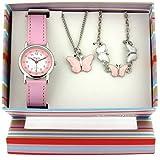 Montre, Pendentif et Bracelet à Papillons de The Olivia Collection.Set Cadeau KS002
