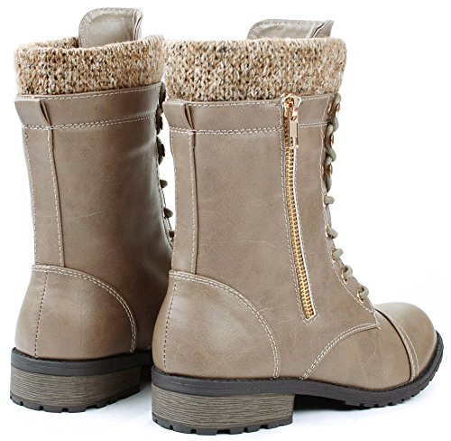 JJF Shoes Womens Mango-31 Taupe Round Toe Military Lace Up Knit Ankle Cuff Low Heel Combat Boots-6
