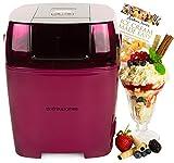 Andrew James Premium Plum Digital Ice Cream, Sorbet and Frozen Yoghurt Maker Machine 1.5 Litre + 128 Page Recipe Book