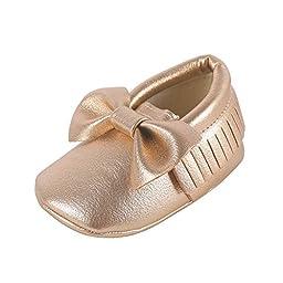 Weixinbuy Baby Boys Girls Soft Soled Tassel Bowknots Crib Shoes PU Moccasins,6-12 Months/5M-5.5M/4.84inch