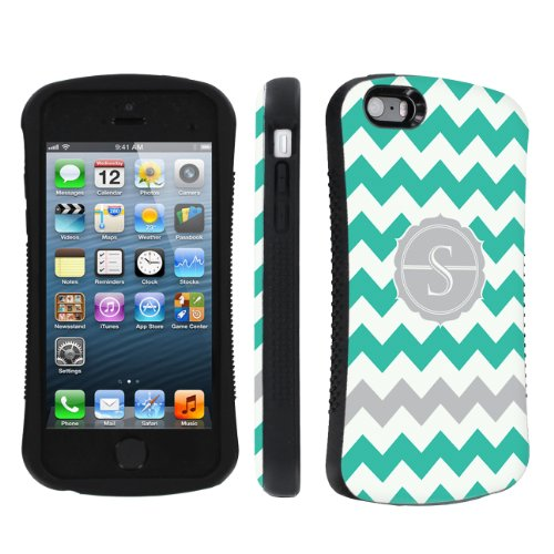 Skinguardz Ultra Shock Absorbent Tough Grip Black Case For Apple Iphone 5 Or 5S - Mint Chevron Monogram Initial S back-923891