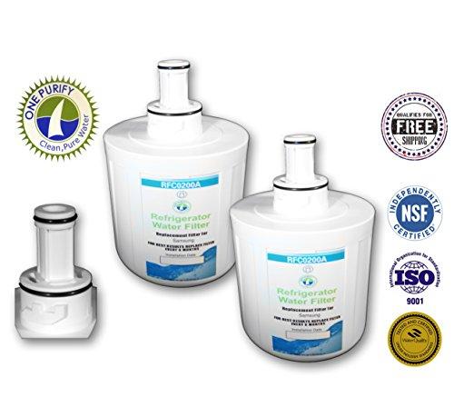 2 Pack - Onepurify Water Filter To Replace Samsung, Whirlpool, Lg, Before 2010 Model (2-Notch), Aqua Pure, Aqua Pure Plus, Da29-00003, Da29-00003A, Da29-00003A-B, Da29-00003B, Da29-0003B, Da2900003A, Da2900003B, Da61-00159, Da61-00159A, Da61-00159A-B, Da6 front-131985