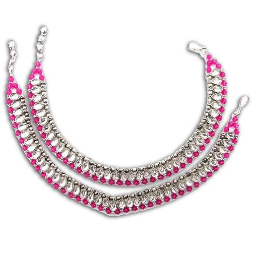 Iba India Bollywood Magenta Anklet Silver Tone
