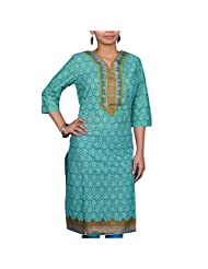 VGF 3/4 Sleeve Printed Cotton Kurti For Women - B00TH1APD0