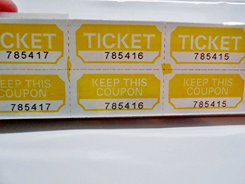 Yellow Raffle Tickets 250 Count Prefolded - Made in USA! (Event Tickets Numbered compare prices)