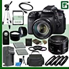 Canon EOS 70D Digital SLR Camera Kit with 18-135mm IS STM Lens and Canon 50mm f/1.8 Lens + 64GB Green's Camera Package 2