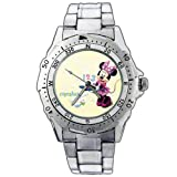 EPSP123 Minnie Kitchen Cooking Bakery Simple Cupcakes Stainless Steel Wrist Watch