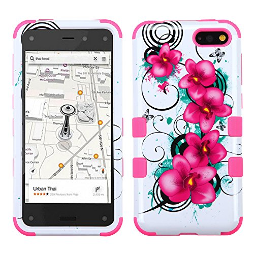 Fire Phone Rubberized Tuff Hybrid Phone Protector Cover (Morning Petunias/Electric Pink)