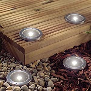4 Pack Round Solar Powered Decking Lights by Kingfisher