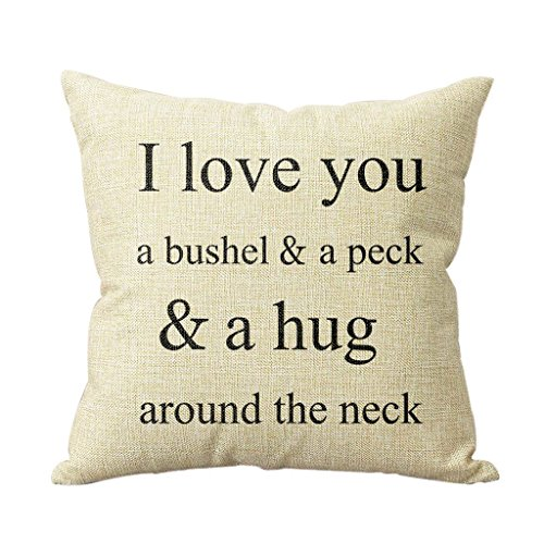 I Love You A Bushel And A Peck Personalized 18x18 Inch Square Cotton Blend Linen Throw Pillow Case Decor Cushion Covers Beige