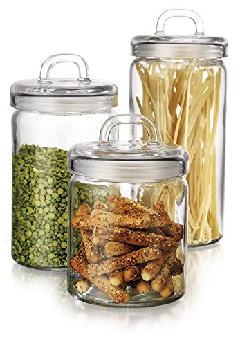 Elegant Home Loop Canister Set of Set of 3 Clear Glass Round with Air Tight Lids for Bathroom or Kitchen - Food Storage Containers (Airtight Glass Storage Containers compare prices)