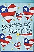 American the Beautiful Hearts Shooting Stars Patriotic Applique Garden Flag