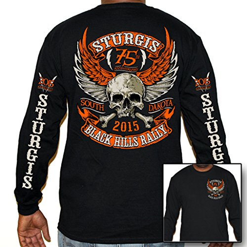 Biker Life USA Men's 2015 Sturgis Orange Skull Long Sleeve Shirt