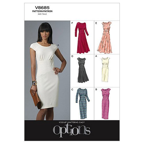 For Sale! Vogue Patterns V8685 Misses' Dress, Size AA (6-8-10-12)