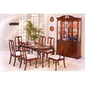 Beautiful cherry finish queen ann dining room for Kitchen queen set