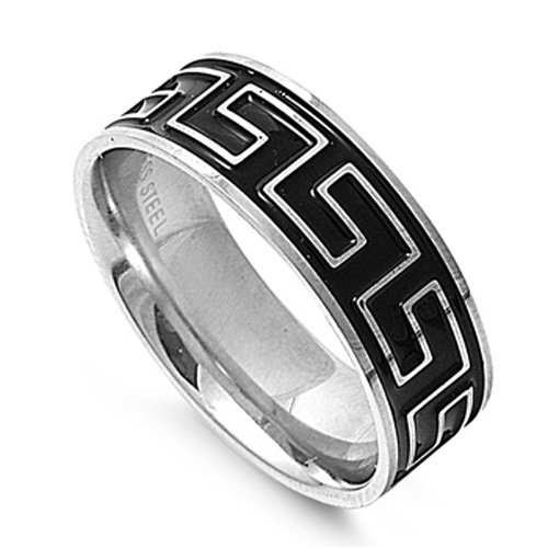 Size 9, 8MM Stainless Steel Greek Key Wedding Band (Size 8 to 13)
