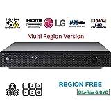LG BP175 Region Free Blu-ray Player, Multi Region 110-240 Volts, 6FT HDMI Cable & Dynastar Plug Adapter Bundle Package (Color: Black, Tamaño: Region Free)