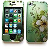 """Apple iPhone 4 & 4S Snap-on Protector Hard Case Image Cover """"Garden Green"""" Design"""