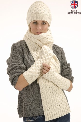 Aran Wool Scarf, Wool Hat  &  Wool Arm Warmers Gift Set (Cream)