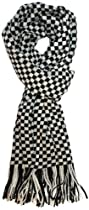 LibbySue-Colorful, Plaid Check Cashmere Feel Winter Scarf (Black and White Houndstooth)