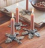 Mud Pie (3) Acorn Leaf Taper Candle Holder Set