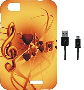 BKDT Marketing Printed Soft Back Cover Combo for Lava Pixel V2 With Charging Cable