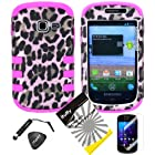 4 items Combo: ITUFFY(TM) LCD Screen Protector Film + Mini Stylus Pen + Case Opener + Baby Pink Leopard Design Rubberized Hard Plastic + Pink Soft Rubber TPU Skin Dual Layer Tough Hybrid Case for Samsung Galaxy Centura S738C / Samsung Galaxy Discover S730G (Straight Talk / Net10/ TracFone)