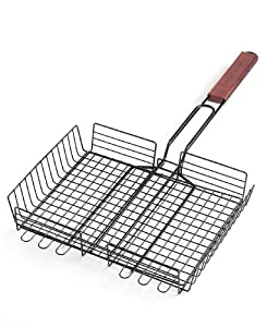 Charcoal Companion Non-Stick Rectangle Grilling Basket with Rosewood Handle