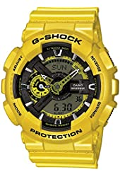 Casio G-Shock Yellow Analog Digital Dial Resin Quartz Men's Watch GA110NM-9A