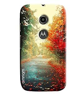 Omnam Beautiful Road Having Flowers Each Side Printed Designer Back Cover Case For Moto E2
