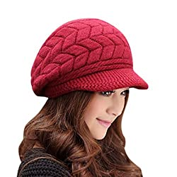 Women's Winter Warm Knit Hat Wool Snow Ski Caps With Visor(Maroon)