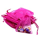 Lalago 100 Pcs Organza Wedding Favour Bags Gift Mini Jewelry Bags (Rose red)