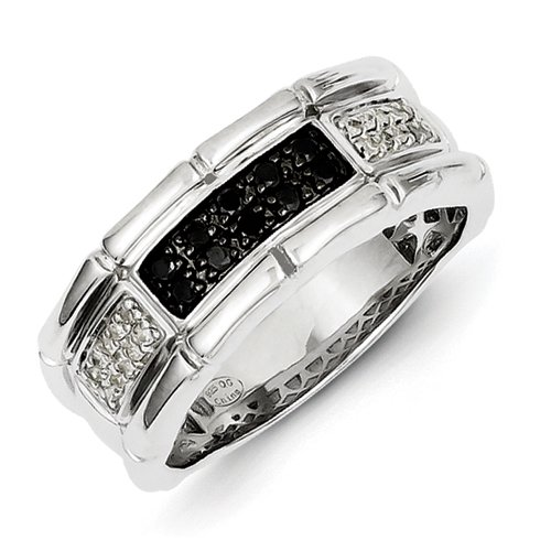 Sterling Silver White and Black Rough Diamond Mens Ring - Ring Size Options Range: R to V