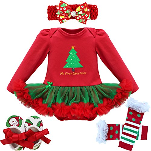 [iEFiEL Baby Girls Christmas Picture Skirt Bodysuit Headband Leg Warmer Shoes Set (3-6 Months, First] (Christmas Outfit)