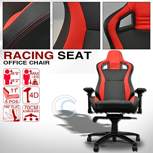 HS Power UNIVERSAL BLACK/RED STITCHES PVC LEATHER MU RACING BUCKET SEAT OFFICE CHAIR C01 (2002 Rc Camaro Body compare prices)