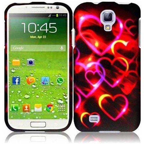 HR Wireless Rubberized Design Protective Cover for Samsung Galaxy S4 - Retail Packaging - Colorful Hearts