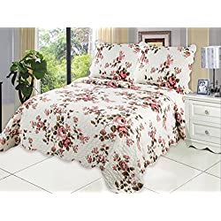 "Microfiber Quilt set,prewashed, preshrunk. Hypoallerginic, Pattern Stitched with Real Threads, machine quilting , Ultra soft . F/Q bed-cover 86""L-86""W, 2sham 20""L-26""W"