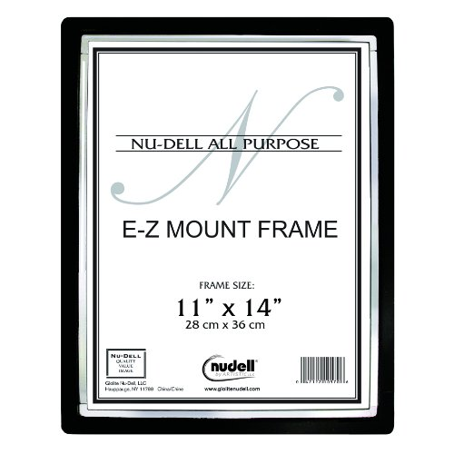 "11"" X 14"" Ez Mount Document Frame Plastic Face, Black W/ Silver Trim front-721298"