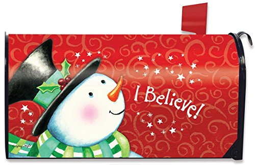 I Believe Magnetic Mailbox Cover Christmas Snowman Standard