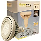 Eisenberg® LED 10 Watt 45-watt equivalent Outdoor & Indoor Floodlight PAR30 450 Lumen IP65 LED Light Bulb, 3000K Warm White Light Daylight 45W Halogen Bulb Equivalent, 450lm, Perfect Standard Size, Warm White, Wide Beam Angle, Recessed Lighting, Non-Dimmable (EnergyStar UL Fcc RoHS approved)