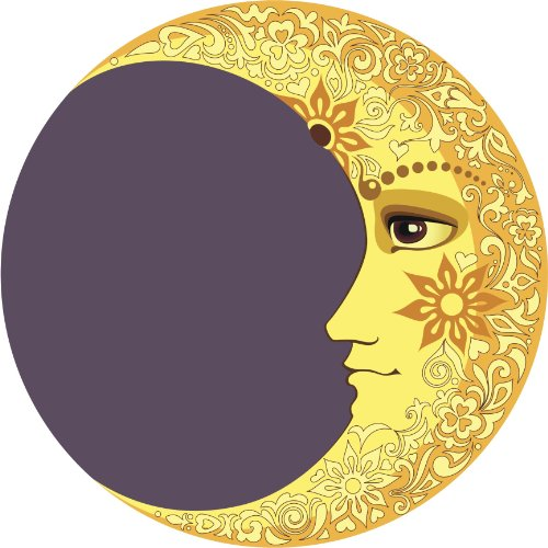 detailed-floral-crescent-moon-yellow-grey-black-brown-vinyl-decal-sticker-two-in-one-pack-4-inches-w