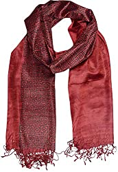 Sahiba Creation trendy and colourful silk stole for women's all time wear(red & black)