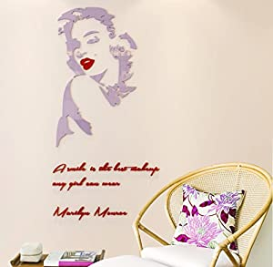 A smile is the best makeup-MARILYN MONROE Wall Sticker Plastic Quote Decal Art Decor Wall Decal Wall Decor (50(H) x 25(W) inches, Mauve Pale and Red)