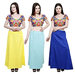 Pistaa combo of Women's Soft Cotton Lemon Yellow, Sky Blue and Ink Blue Color Best Readymade Inskirt Saree petticoats