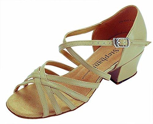 "Open Toe X-Strap 1.5"" Cuban Heel (6, Tan Leather)"