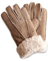 Nordvek 100% Genuine Womens Sheepskin Gloves With Fur Cuff # 301-100