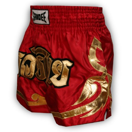 Sandee - Conquest Satin Thai Shorts - Red/Gold - Size 2XS (For Boxing, MMA, UFC, Muay Thai)