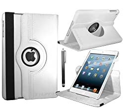 White Apple iPad Mini Leather Smart Case with 360° Degree Rotating Swivel Action for Portrait and Landscape Orientation with Free Screen Protector and Stylus Touch Pen by Stuff4®